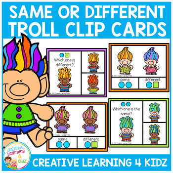 Same or Different Troll Visual Task Cards