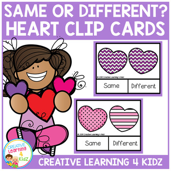 Same or Different Valentine's Day Heart Clip Cards