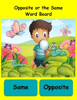Same or Opposite Literacy Center Reading Center Synonyms a