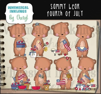 Sammy Bear Fourth of July Clipart Collection