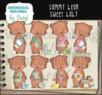 Sammy Bear Sweet Baby Clipart Collection