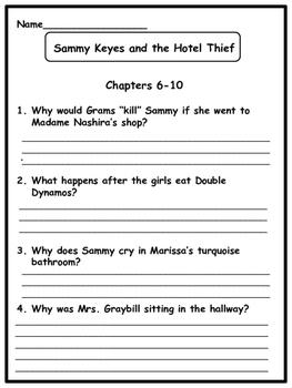 Sammy Keyes and the Hotel Thief  Novel Study