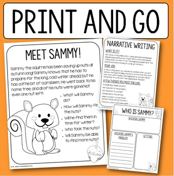 Sammy the Squirrel Narrative Writing: Print and Go Packet for Grades 3-5