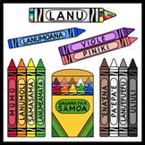 Crayons in Samoan / Colors in Samoan (High Resolution)