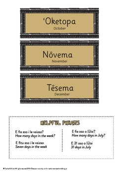 Samoan Months of the Year labels