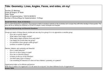 Sample 5th Grade Geometry
