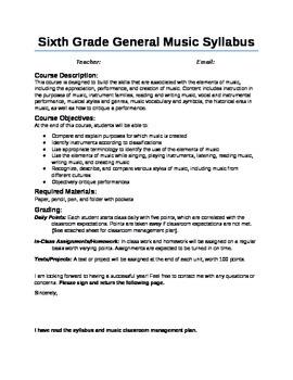 Sample 6th Grade General Music Syllabus