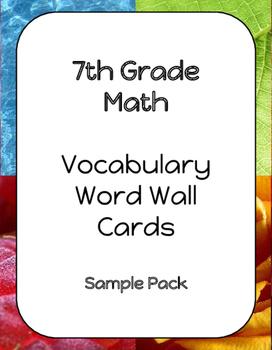 Sample 7th Grade Math Vocabulary Word Wall