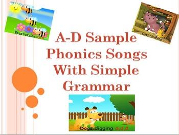 FREE Sample A-D phonics Songs