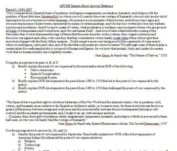 Sample APUSH Short Answer Questions and Short Answer Database