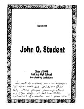 Sample Academic/Scholarship/College Resume