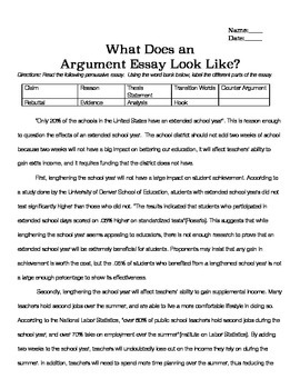 Sample Argument Essay & Essay Outline