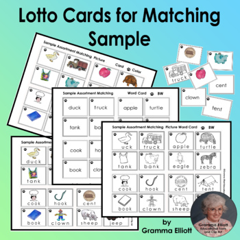 Sample Assortment Lotto Matching Cards