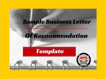 Sample Business Letter of Recommendation