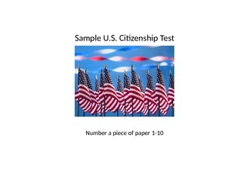Sample Citizenship Test