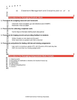 Sample Classroom Management Plan