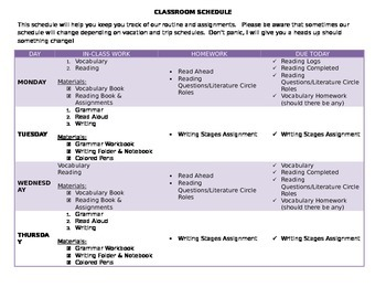 Sample Classroom Schedule