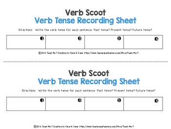 Sample Common Core Aligned Verb Tenses Scoot or Task Cards