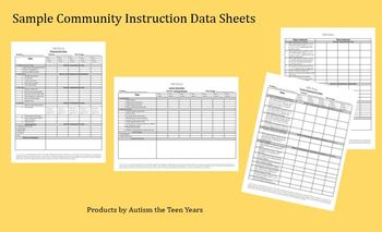 Sample Community Skills Data Sheets for ABA, Autism & Special Education