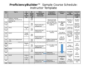 Sample Course Schedule: Instructor Template