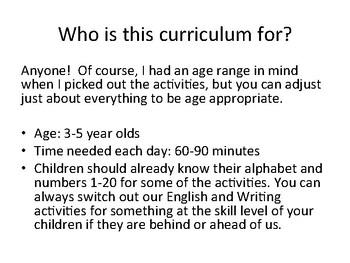 Sample Curriculum for Preschoolers