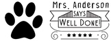 Sample Customized Teacher Template Paw Print