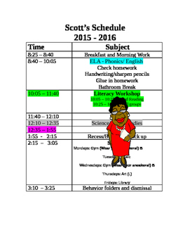 Sample Daily Schedule with ELA