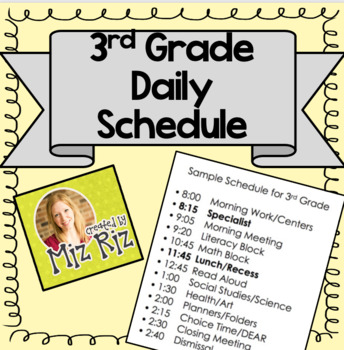Sample Daily Schedule for 3rd Grade