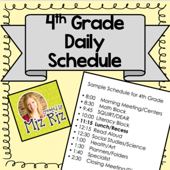 Sample Daily Schedule for 4th Grade