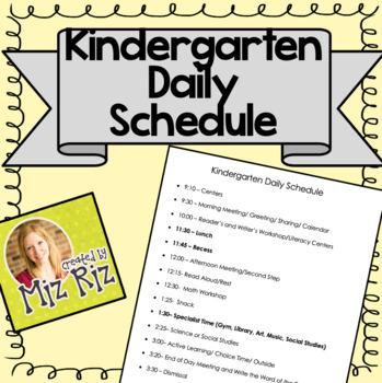 Sample Daily Schedule for Kindergarten
