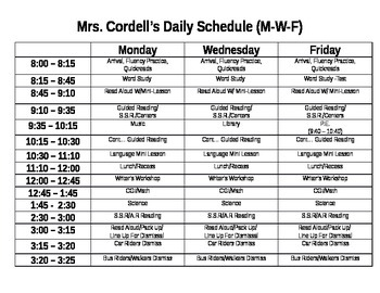 Sample Effective Literacy Block Daily Schedule