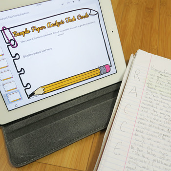 Sample Essay Analysis Digital Task Cards, Response to a Text