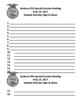 sample ffa meeting sign in sheets by agricultural science classes