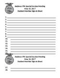 Sample FFA Meeting Sign In Sheets