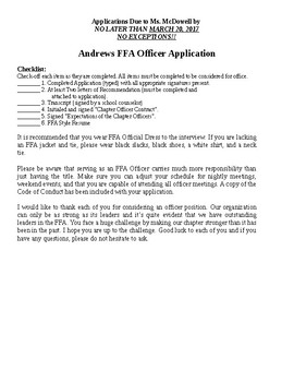 Sample FFA Chapter Officer Application