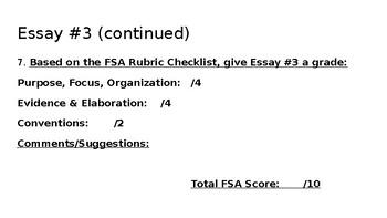 Sample FSA Argumentative Essay Grading