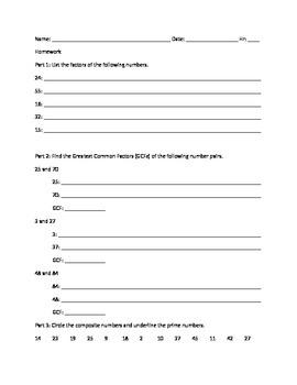 Sample: Factors and Multiples Homework