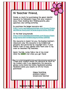 Sample February Winter Poetry Unit & Inferencing Activities (NO PREP)