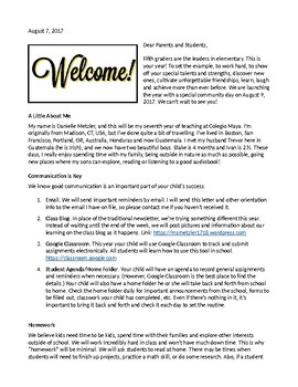 Sample Fifth Grade Introduction Letter to Parents by