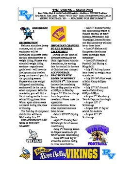 Sample Football Newsletter
