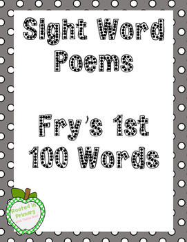 Sample Fry's Sight Word Poems