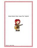 Sample General Music Lesson Plan Template for Nursery/Pre-K/K