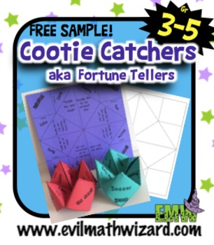 Sample: Get to know you and common core math Cootie Catchers aka Fortune Tellers