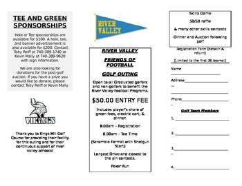 Sample Golf Outing Fundraiser Registration