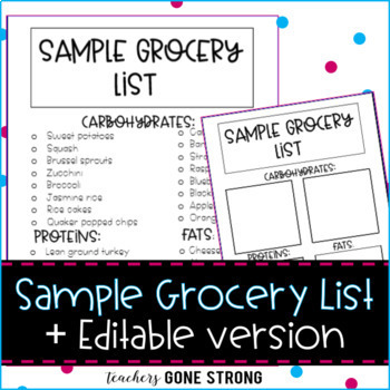 Sample Grocery List  Editable Version By Teachers Gone Strong  Tpt