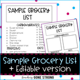 Sample Grocery List + Editable Version