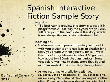 Sample Interactive Fiction: Elena y el mensaje raro