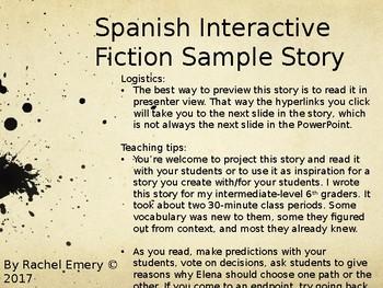 Sample Interactive Fiction: Elena y el mensaje raro