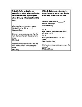 Sample Item Stem Questions - Florida Standards Assessment - Grade 4