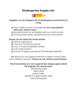 Sample Kindergarten Supply List